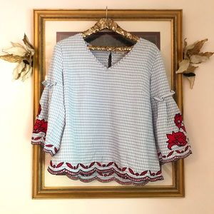 Tops - Gingham embroidered bell sleeve top XL